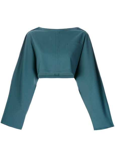Société Anonyme kimono top cropped women wool green