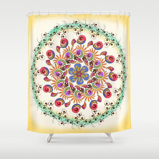 Rustic Shower Curtain Mint Boho Mandala Bathroom Decor Curtains
