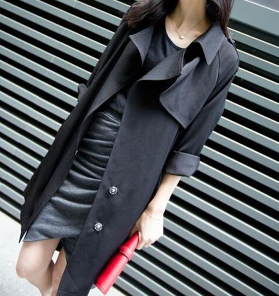 fashion black chic blogger style trench coat long coat