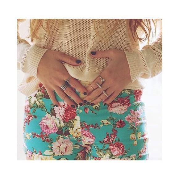 shorts sweater roses turquoise