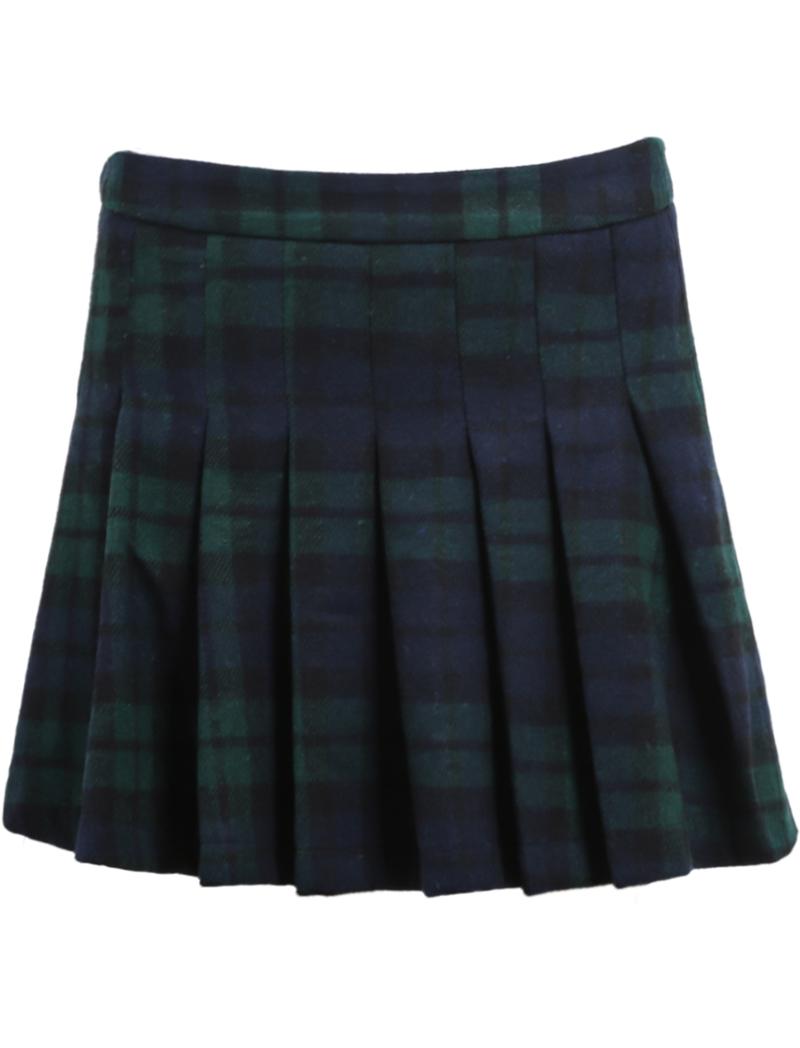 blue plaid pleated woolen skirt sheinside