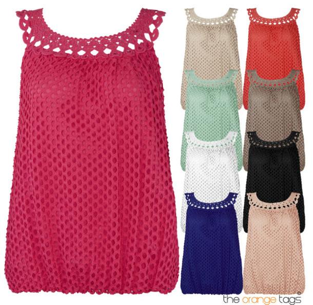 Blouse New Crochet Vest Sleeveless Ladies Polka Dots Lined