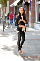 hapa time,blogger,jacket,jewels,bag,shirt,leggings,shoes,printed blazer,leather pants,checkered,white top,leopard print,pumps,pointed toe pumps,high heel pumps,gold shoes