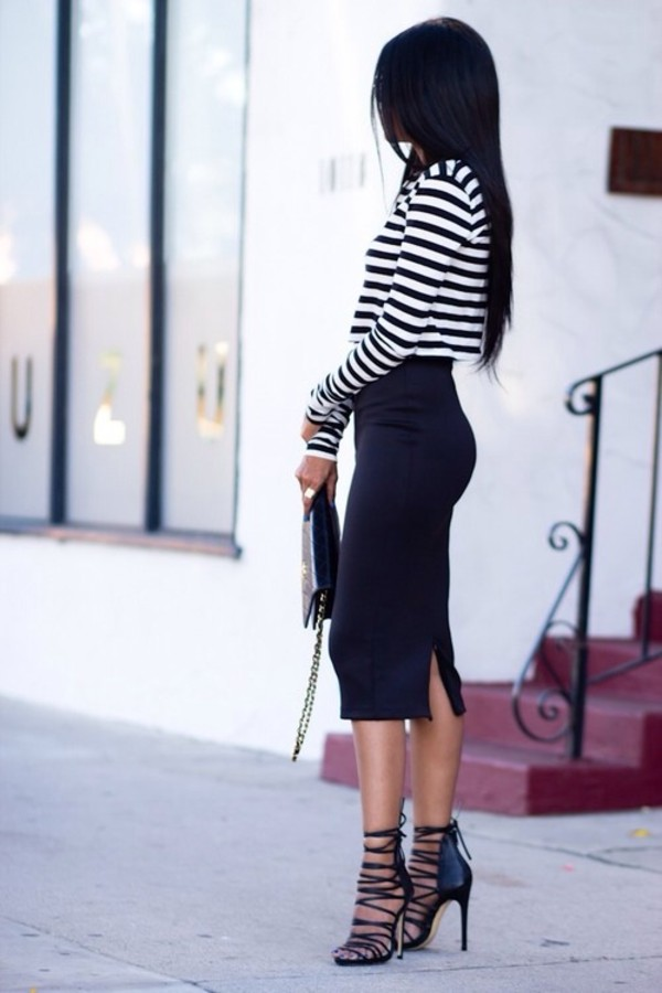 shirt crop tops stripes white dark blue midiskirt skirt black black skirt tight skirt midi skirt shoes heels formal high heels dress