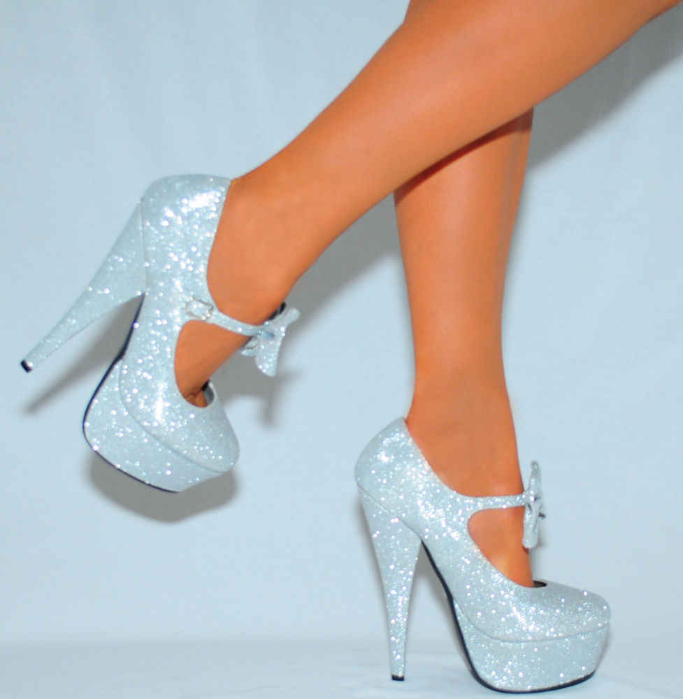 Light Blue Sparkly Heels - Is Heel