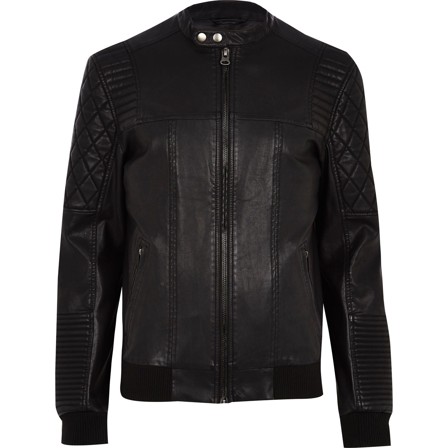 Black quilted panel biker jacket