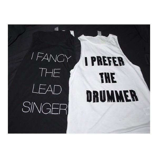 band t-shirt tank top white black