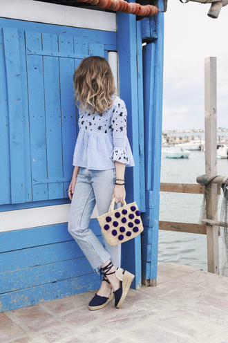 jeans french girl top blue jeans denim sandals espadrilles wedges wedge sandals blue top bag pom poms