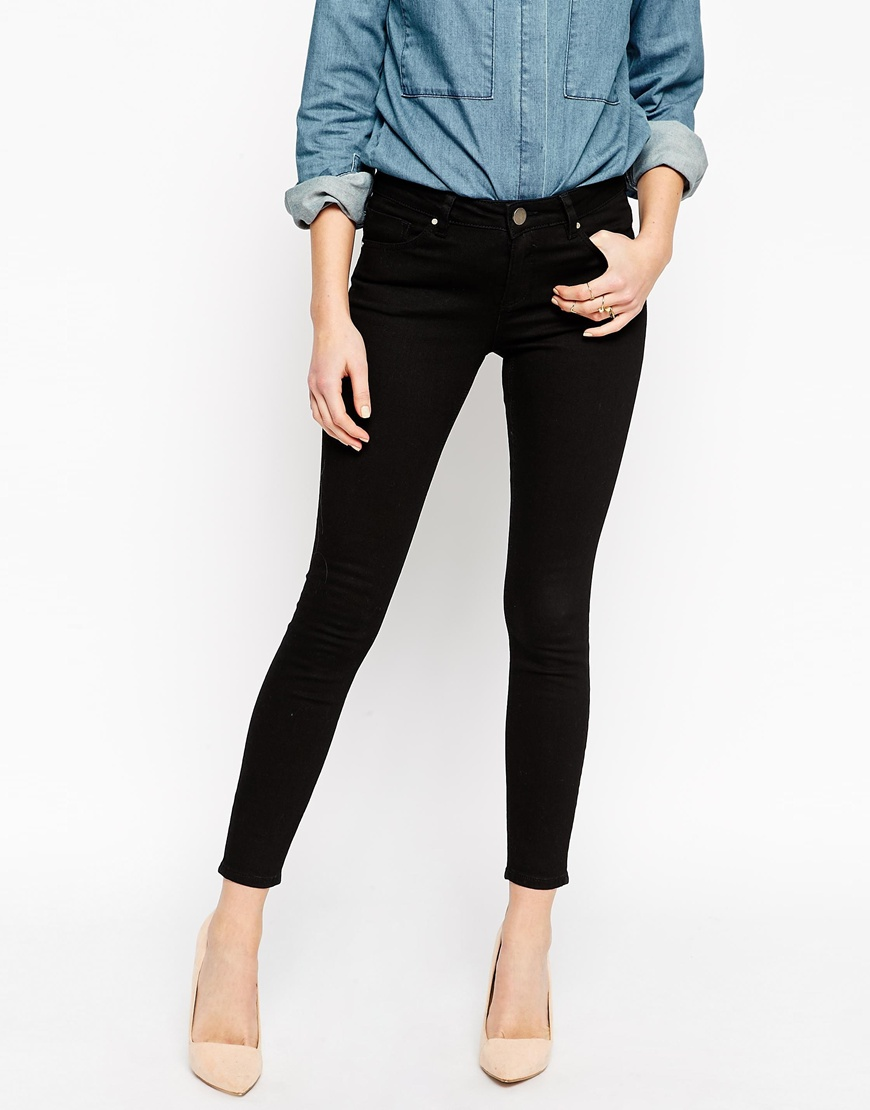 Lisbon Skinny Mid Rise Ankle Grazer Jeans in Clean Black at asos.com