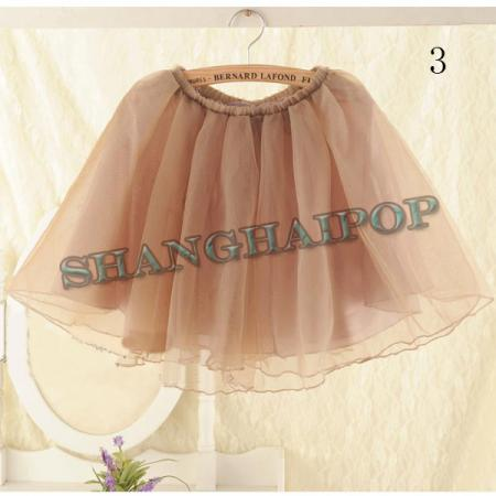 Mini chiffon skirt high waist skater short sexy tulle tutu layered coffee beige