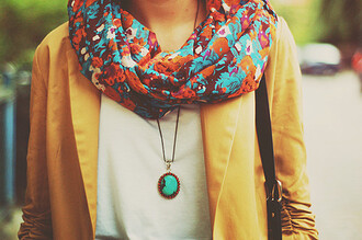 scarf print floral coral teel colorful love flowers beautiful cute jacket brown brown jacket jewels leather necklace blazer