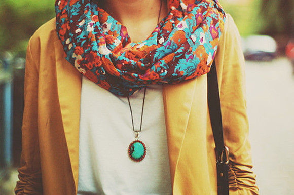 jacket brown jacket scarf beautiful cute floral flowers brown jewels print coral teel color love leather necklace blazer
