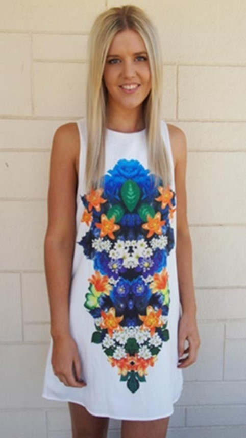 White and Floral Mirror Print Dress