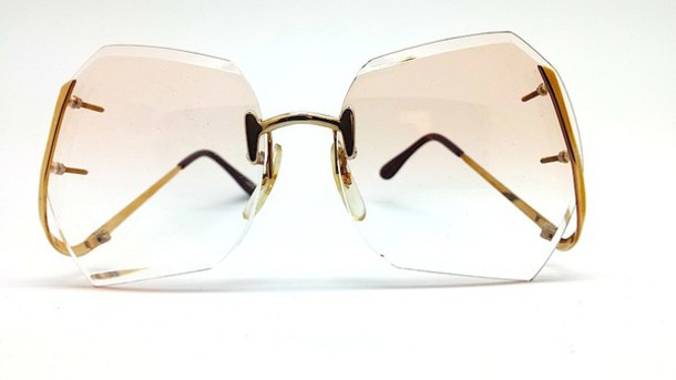 Rimless Clear Glasses : Sunglasses: vintage, drop temple, drop leg, gold leg ...