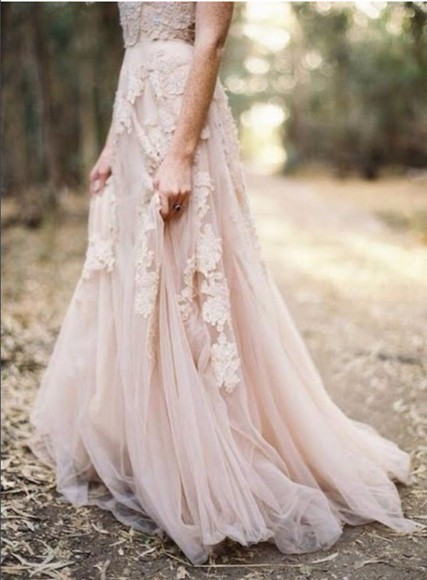 prom dress whimsical flowy baby pink hipster wedding