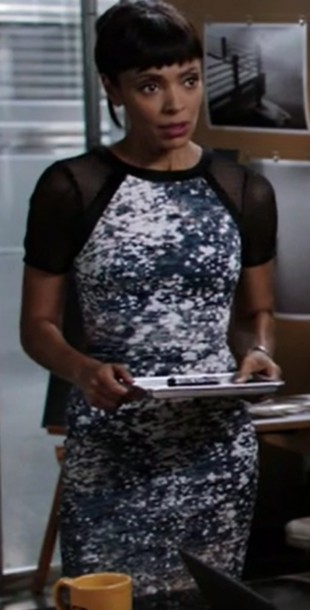 dress,drees,blue,white,black,bones tv show,dr camille saroyan,tamara taylor
