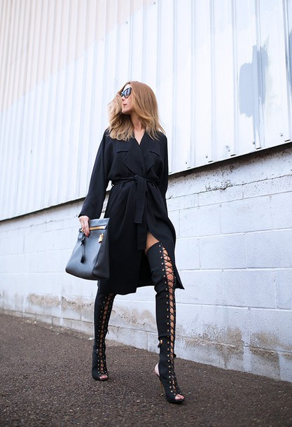 blogger coat thigh high boots black dress lace up boots all black everything sunglasses bag shoes wrap dress black midi dress valentines day date outfit date dress