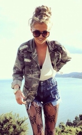 jacket camo jacket white blouse high waisted jean shorts black panty hose black tights blouse shorts jeans underwear sunglasses army camouflage