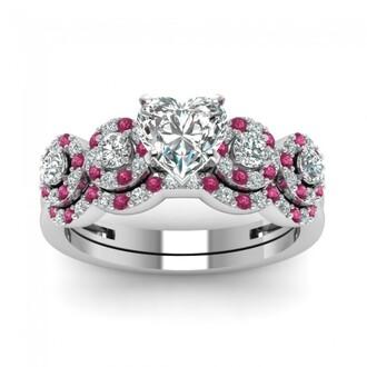 jewels pink sapphire ring set heart cut diamond ring set pretty halo design prong set heart shaped diamond wedding set with pink sapphire evolees.com