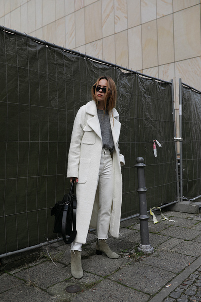 coat tumblr white coat grey long coat denim jeans white jeans boots ankle boots bag black bag sunglasses sweater