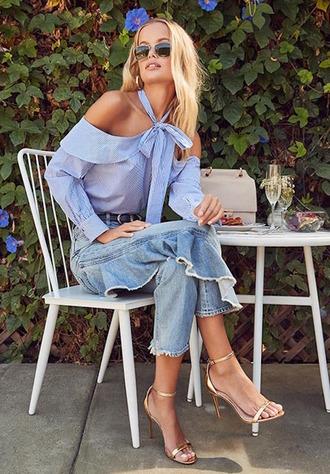 le fashion image blogger sunglasses blouse shoes gold shoes sandals high heel sandals blue top