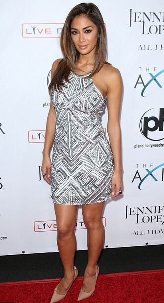 embellished embellished dress nicole scherzinger silver dress patterned dress