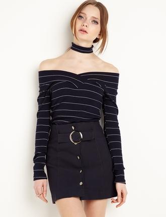 shirt off the shoulder stripes
