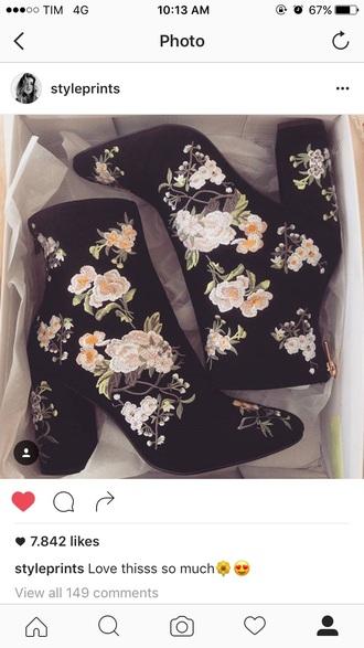 shorts velvet flowers boots heels black
