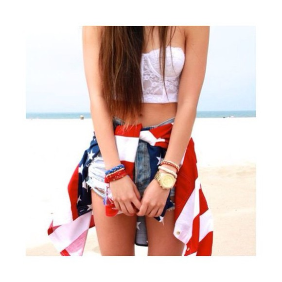 bandeau top beach bandeau top jacket denim shorts denim white top High waisted shorts studs hot outfit trendy stylish flag flag jacket usaflag usa flag riped short flag high waisted shorts