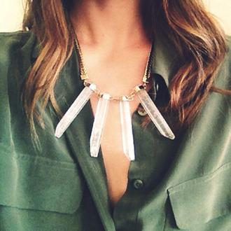 jewels collar necklace quartz stones gold
