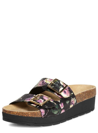 Black floral leather flatforms - Style Steals - Clothing