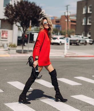 dress tumblr red sweater mini dress sweater dress boots black boots over the knee bag black bag fall outfits fall dress sunglasses