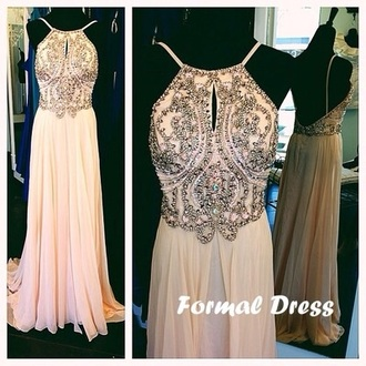 dress prom dress long beige rose