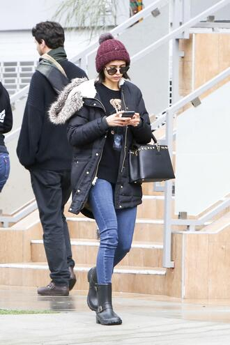 sweater nina dobrev beanie winter outfits winter jacket jeans boots jacket