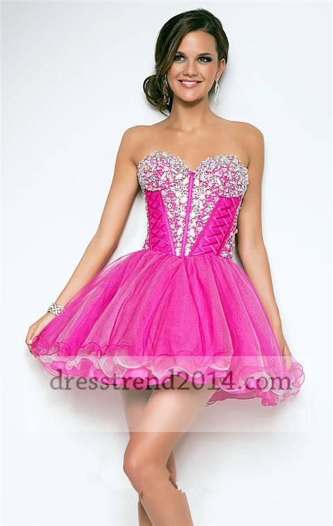Hot pink beaded short corset prom dresses 2014 [short pink prom dress]