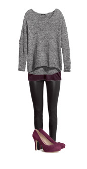 sweater,fall outfits,heels,shoes,purple,grey,leather pants,leather,black,pants,slim,tank top