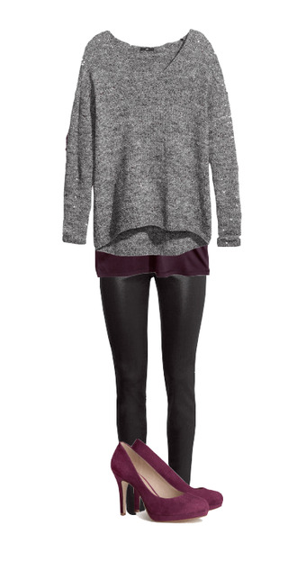 sweater fall outfits heels shoes purple grey leather pants leather black slim pants tank top