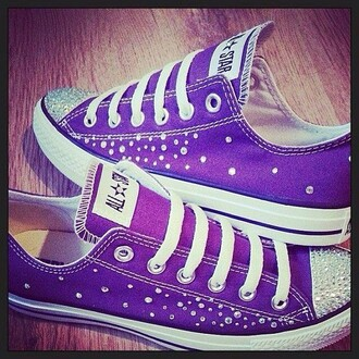shoes purple allstars diamons