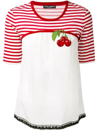 t-shirt shirt cherry women white cotton silk top