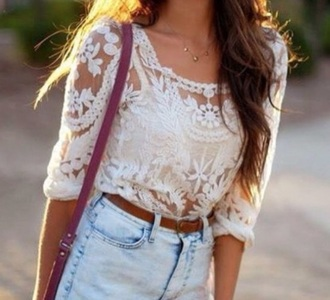shirt white lace shirt