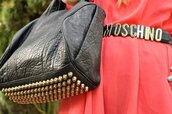 bag,black,gold,stud,leather,moschino,pink