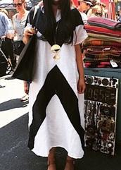 dress,black and white,colorblock,black dress,cotton,chevron dresses,summer dress,kaftan,black and white dress