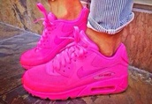 shoes,nike,nike air force,air max,hot pink. nike airmax 90 hyperfuse,bright pink nike air trainers,bright pink nike trainets size 5.5,airmaxhyperfuse,all pink nike air max 90,hot pink air max,pink,nike air