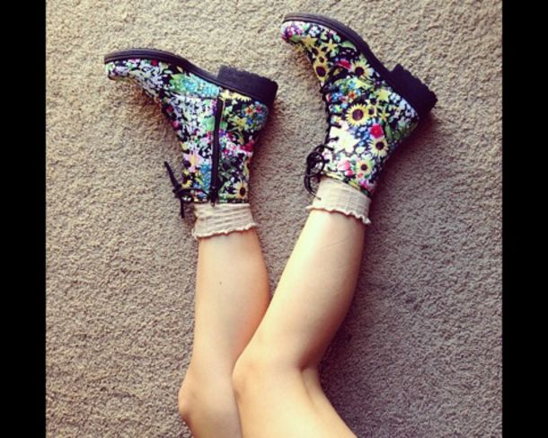 Shoes: drmartens combat boots flowers colorful lace up must