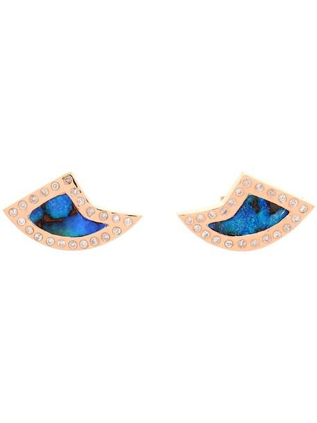 Dezso rose gold rose women shark opal earrings gold blue jewels