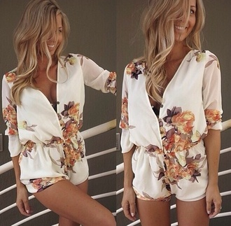 romper cute floral fashion clothes vintage classy silk