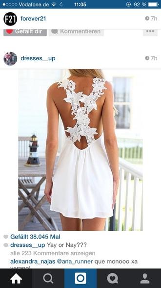dress white lace cute short summer women back