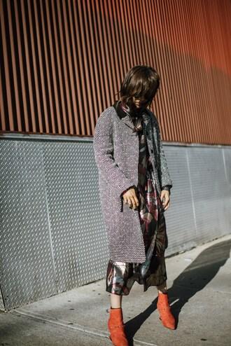 coat tumblr grey coat dress midi dress floral floral dress satin dress satin boots orange ankle boots pointed boots