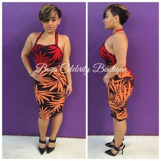 dress bandage bandage dress tropical red dress orange dress clothes summer dress island jamaica