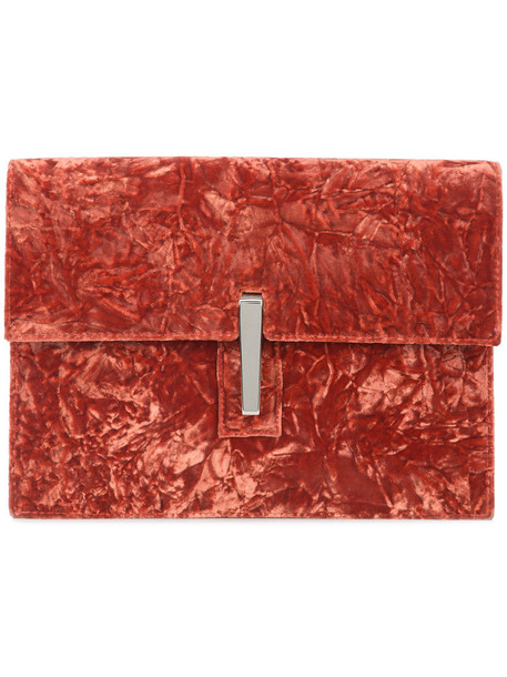 Hayward women soft clutch suede silk velvet red bag
